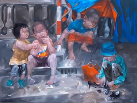 Luong trung-Life stories-120x160-oil on canvas-1