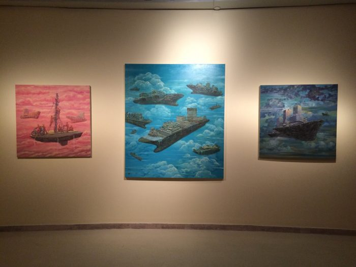Artworks by artist Pham Huy Thong at the exhibition. Photo courtesy of Pham Huy Thong
