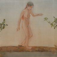 Lê Thúy, Thăng Bằng, Màu nước trên lụa, 78 x 138 cm