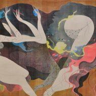 Bùi Tiến Tuấn, Đêm Hoan Ca, Màu nước trên lụa, 80 x 125 cm