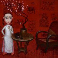 Bùi Thanh Tâm Thiên Đường Bỏ Ta Đi- Mùa Xuân Đỏ Của Chúng Em Sơn dầu trên tranh Đông Hồ trên toan 120 x 180 cm